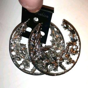 Large Diamond Stud Hoop Earrings NEW